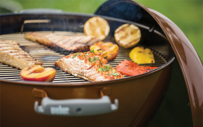Food on charcoal grill