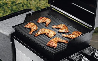 Chicken on gas grill