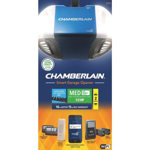 Chamberlain Smartphone-Controlled Ultra Quiet & Strong Belt Drive Garage Door Opener with MED Lifting Power