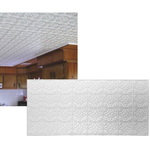 Dimensions 2 Ft. x 4 Ft. White 6 In. Circle/Square Pattern Tin Look Nonsuspended Ceiling Tile & Backsplash