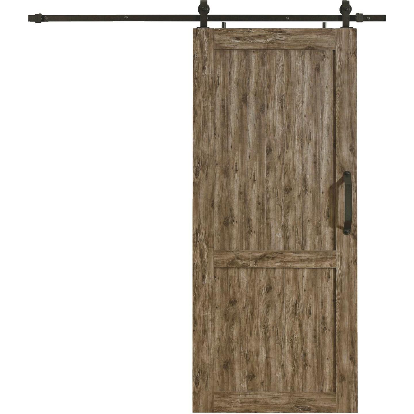 Millbrooke 42 In. x 84 In. x 1.3 In. H-Style Weathered Gray PVC Barn Door Kit Image 1