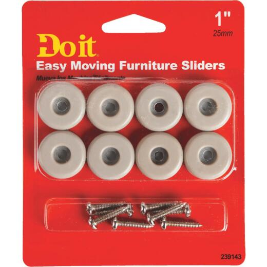 Do it 1 In. Round Adhesive and Screw on Furniture Glide,(8-Pack)