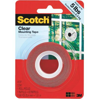 3M Scotch 1 In. x 60 In. Clear Double-Sided Mounting Tape (5 Lb. Capacity)