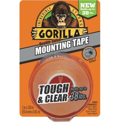 Gorilla 1 In. x 150 In. Tough & Clear Double-Sided Mounting Tape (38 Lb. Capacity)