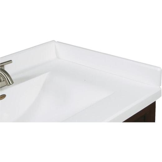 Imperial Marble 3 In. H x 21 In. L Solid White Gloss Cultured Marble Side Splash, Right Side