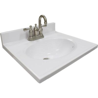 US Marble 19 In. W x 17 In. D Solid White Cultured Marble Vanity Top with Oval Bowl