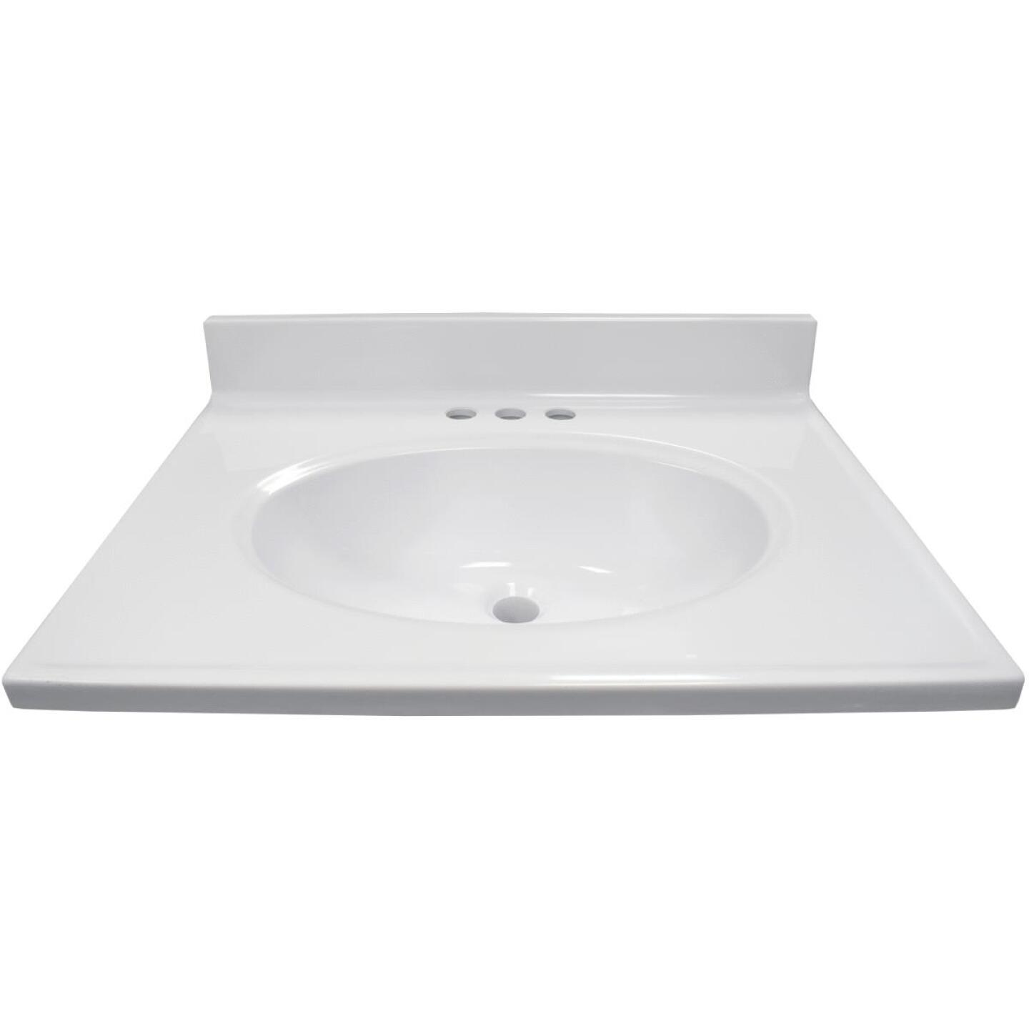 US Marble 25 In. W x 19 In. D Solid White Cultured Marble Vanity Top with Oval Bowl Image 2
