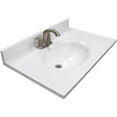 US Marble 31 In. W x 19 In. D Solid White Cultured Marble Vanity Top with Oval Bowl
