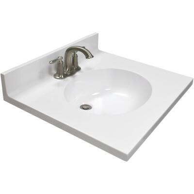 US Marble 25 In. W x 22 In. D Solid White Cultured Marble Vanity Top with Oval Bowl