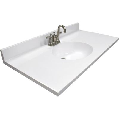US Marble 37 In. W x 22 In. D Solid White Cultured Marble Vanity Top with Oval Bowl