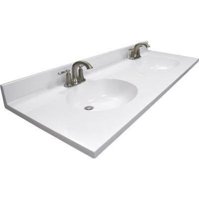 US Marble 61 In. W x 22 In. D Solid White Cultured Marble Vanity Top with Double Oval Bowl