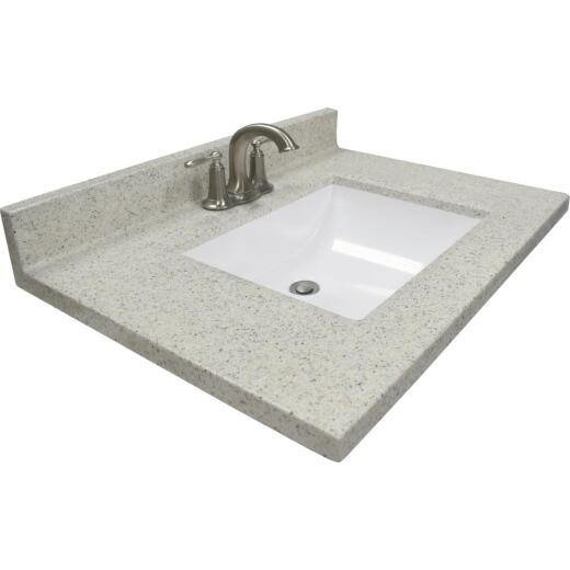US Marble 31 In. W x 22 In. D Dune Cultured Marble Vanity Top with Rectangular Wave Bowl