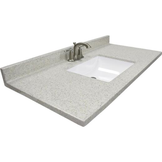US Marble 37 In. W x 22 In. D Dune Cultured Marble Vanity Top with Rectangular Wave Bowl