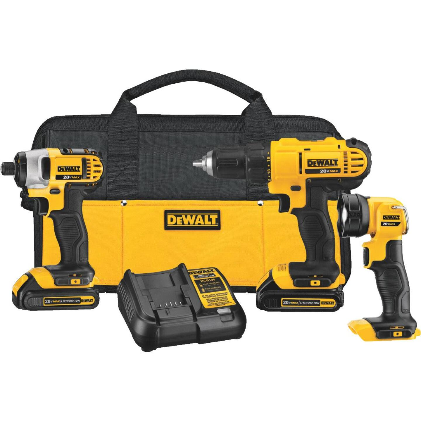 DeWalt 3-Tool 20V MAX Lithium-Ion Drill/Driver, Impact Driver & Work Light Cordless Tool Combo Kit Image 1