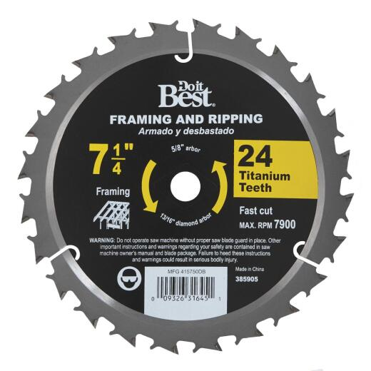 Do it Best Professional 7-1/4 In. 24-Tooth Crosscut/Framing Circular Saw Blade, Bulk
