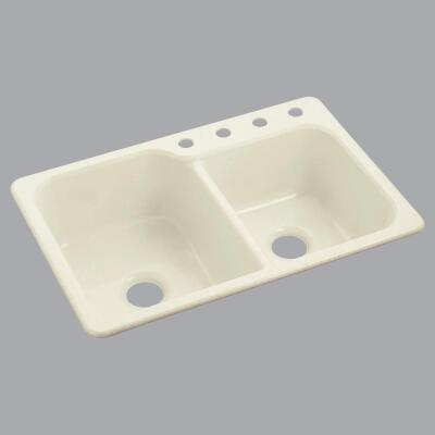Sterling Double 33 In. x 22 In. Biscuit Composite Kitchen Sink
