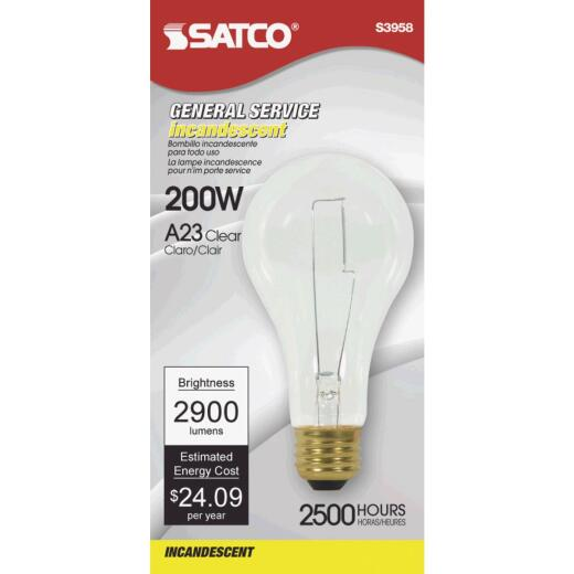 Satco 200W Clear Medium Base A23 Incandescent High Wattage Light Bulb