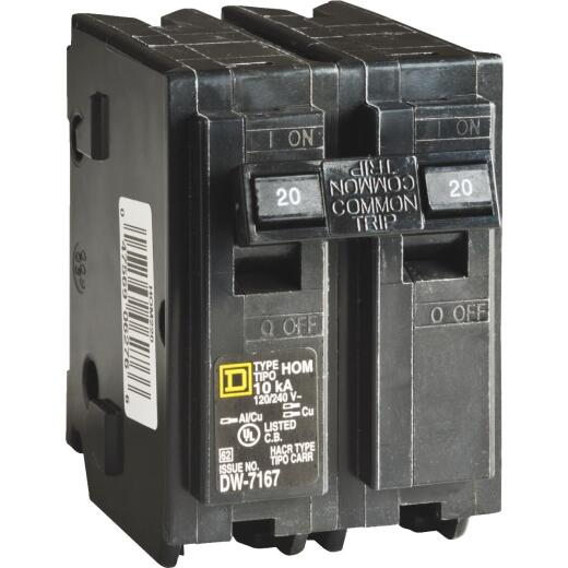 Square D Homeline 20A Double-Pole Standard Trip Circuit Breaker