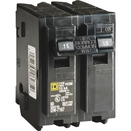 Square D Homeline 15A Double-Pole Standard Trip Circuit Breaker