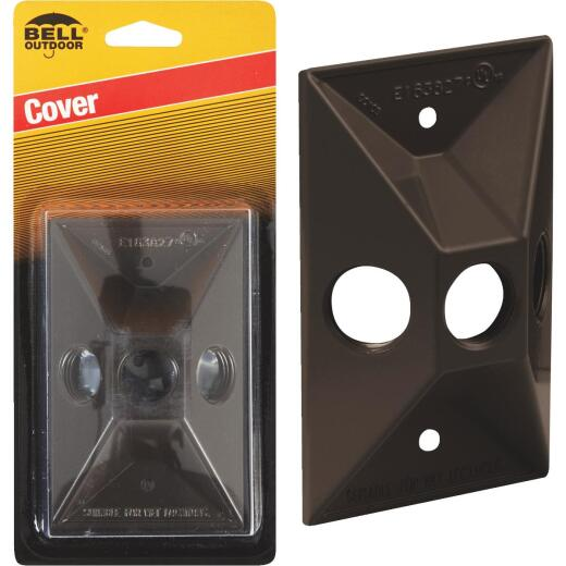 Bell 3-Outlet Rectangular Zinc Bronze Cluster Weatherproof Outdoor Box Cover, Carded