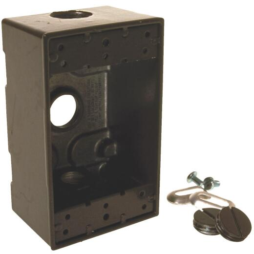 Bell Single-Gang 1/2 In. 3-Outlet Bronze Aluminum Weatherproof Outdoor Outlet Box, Shrink Wrapped