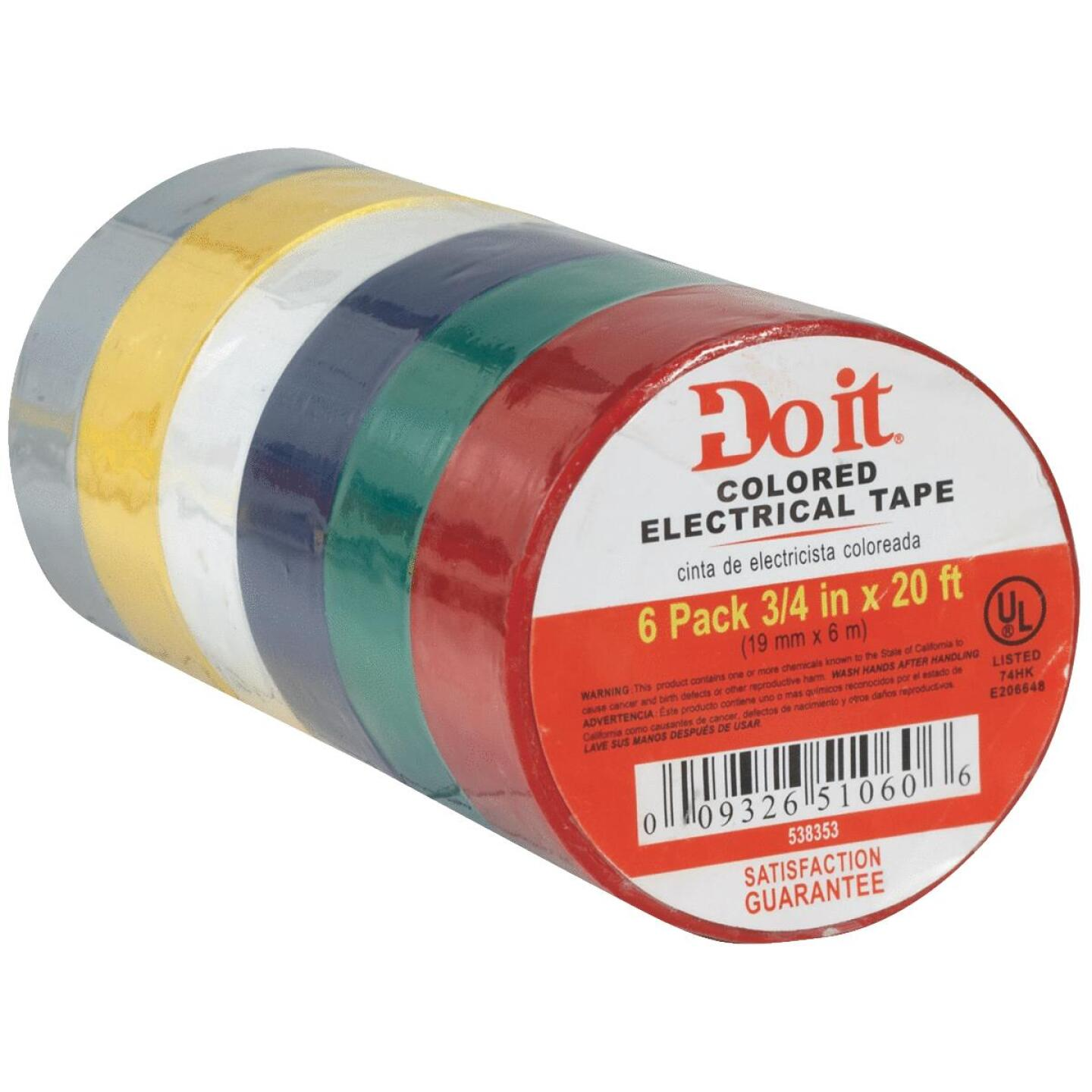 Do it General Purpose 3/4 In. x 20 Ft. Assorted Color Electrical Tape, (6-Pack) Image 4