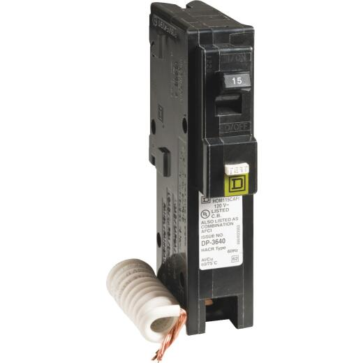 Square D Homeline 15A Single-Pole CAFCI Combination Arc Fault Breaker