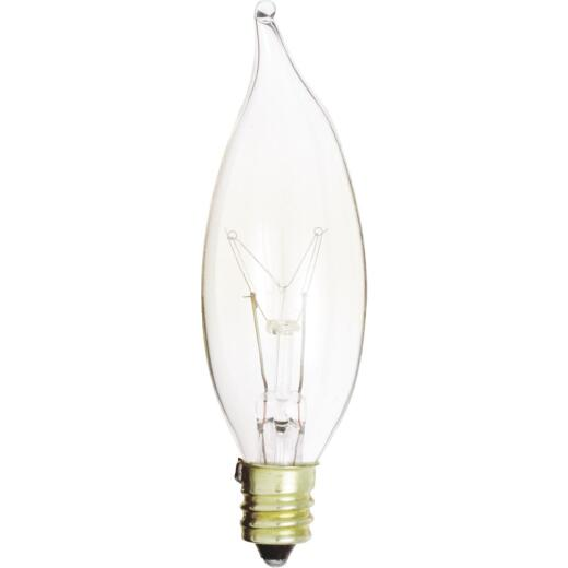 Satco 15W Clear Candelabra CA8 Incandescent Bent Tip Light Bulb (2-Pack)