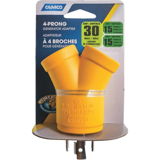 Camco Power Grip 30-Amp 4-Prong Y RV Generator Adapter