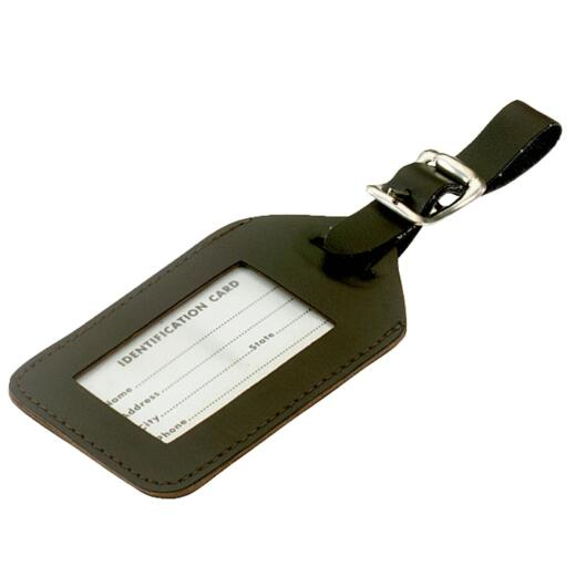 Lucky Line Simulated Leather I.D. Luggage Tag, Black or Brown (Cannot Specify Color)