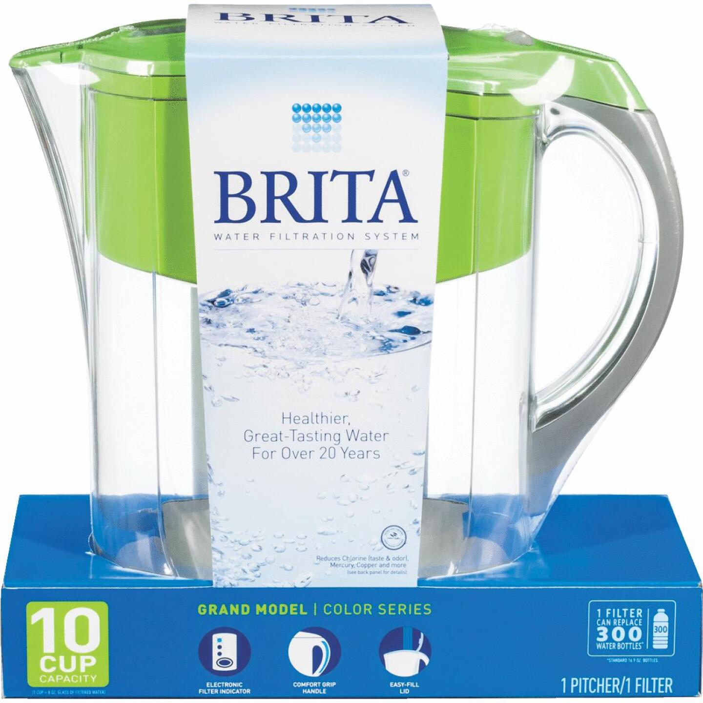 Brita Grand 10-Cup Water Filter Pitcher, Green Image 1