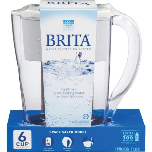 Brita Space Saver 6-Cup Water Filter Pitcher, White