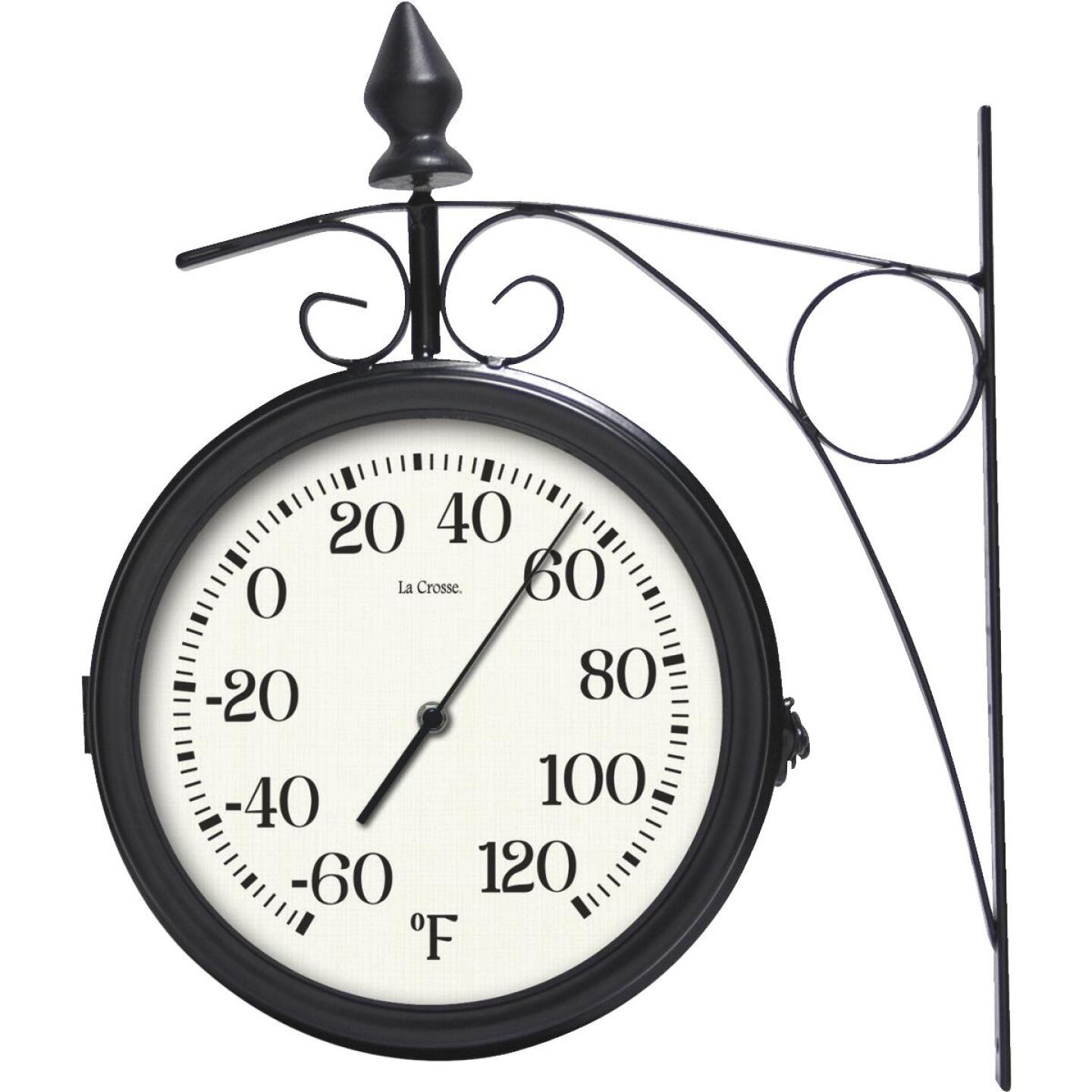 """La Crosse Technology 8"""" Metal Outdoor Clock Thermometer Image 2"""