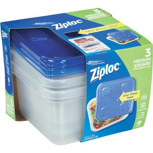 Ziplock 1.25 Qt. Clear Square Food Storage Container with Lids (3-Pack)