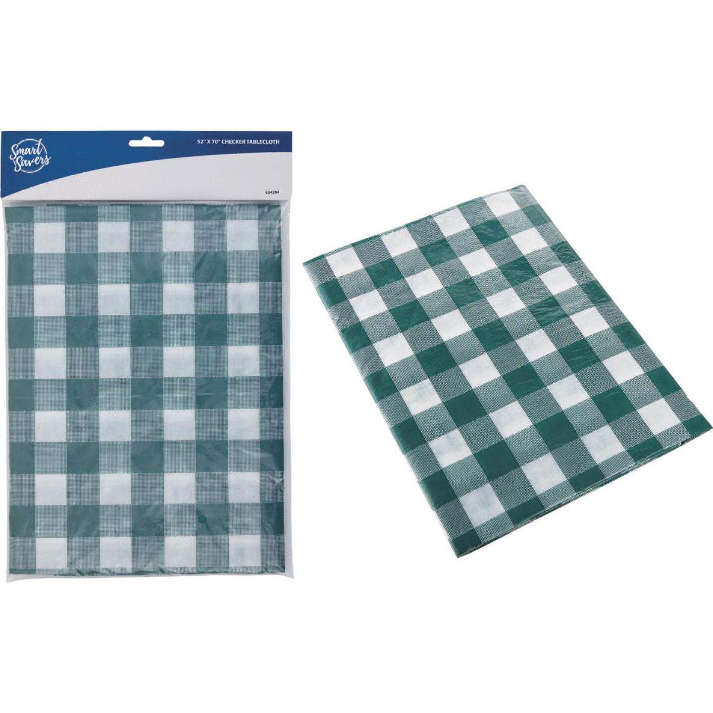 Smart Savers 52 In. W. x 70 In. L. Green & White Checkerboard Tablecloth Image 1