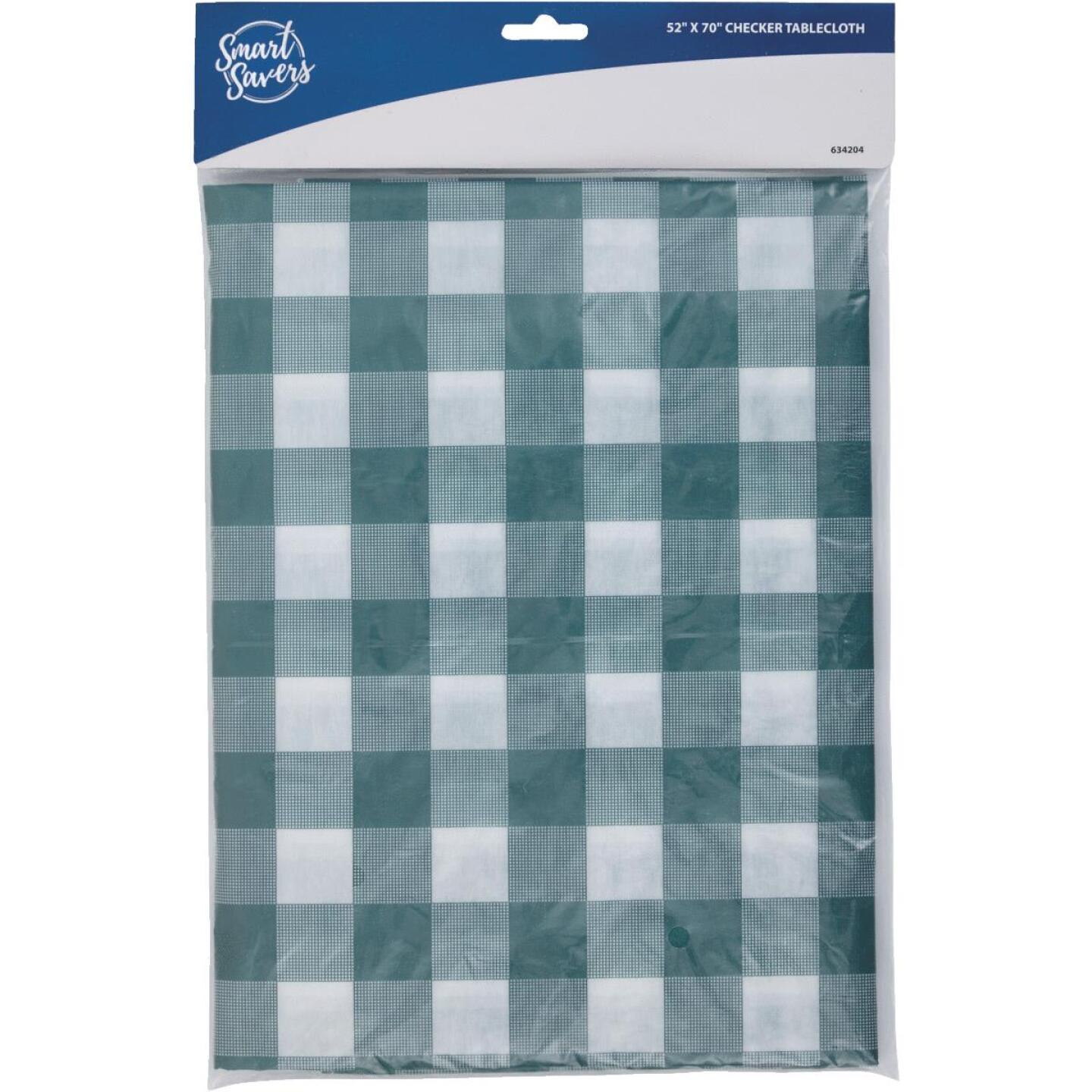 Smart Savers 52 In. W. x 70 In. L. Green & White Checkerboard Tablecloth Image 3