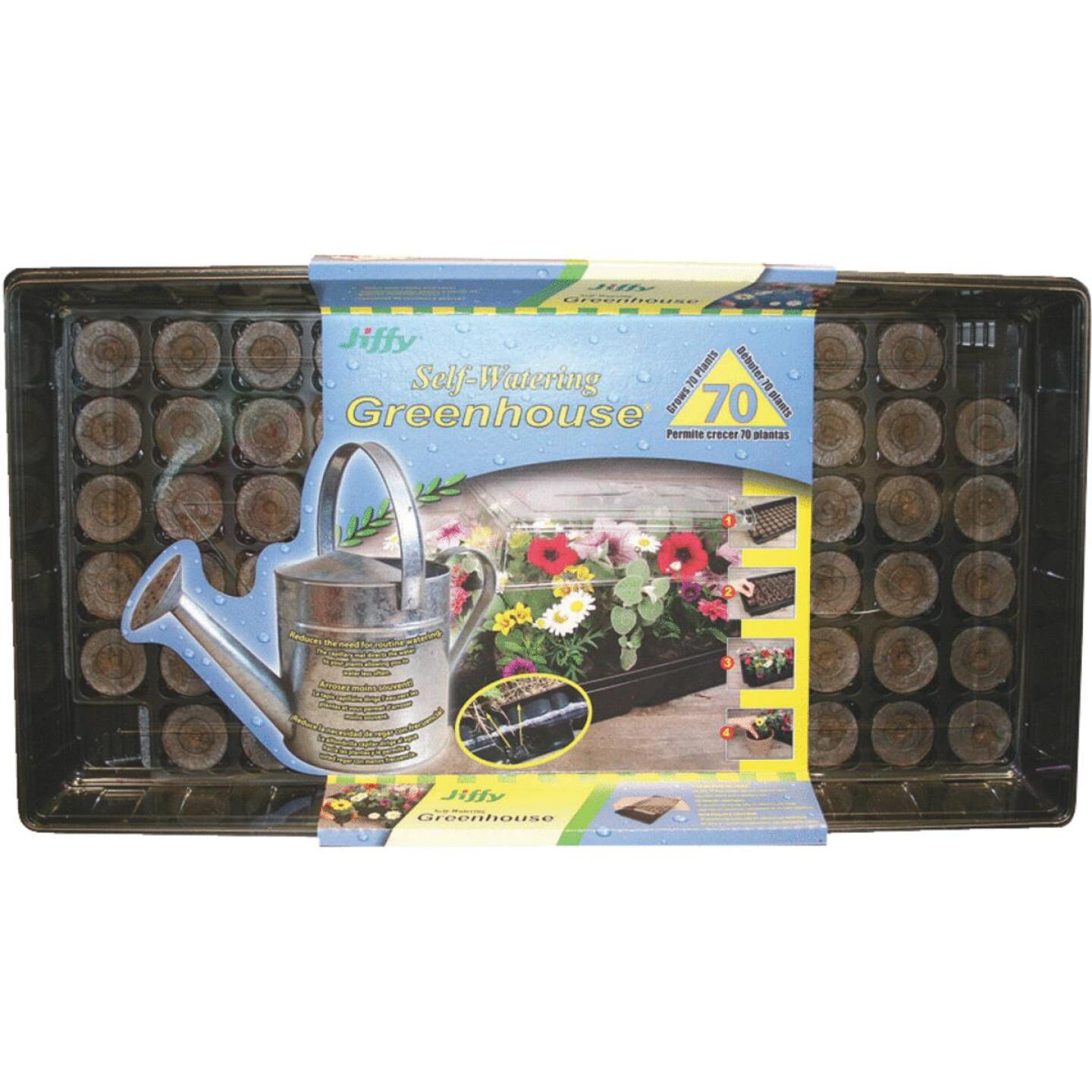 Jiffy 70-Cell Self-Watering Greenhouse Seed Starter Kit Image 1