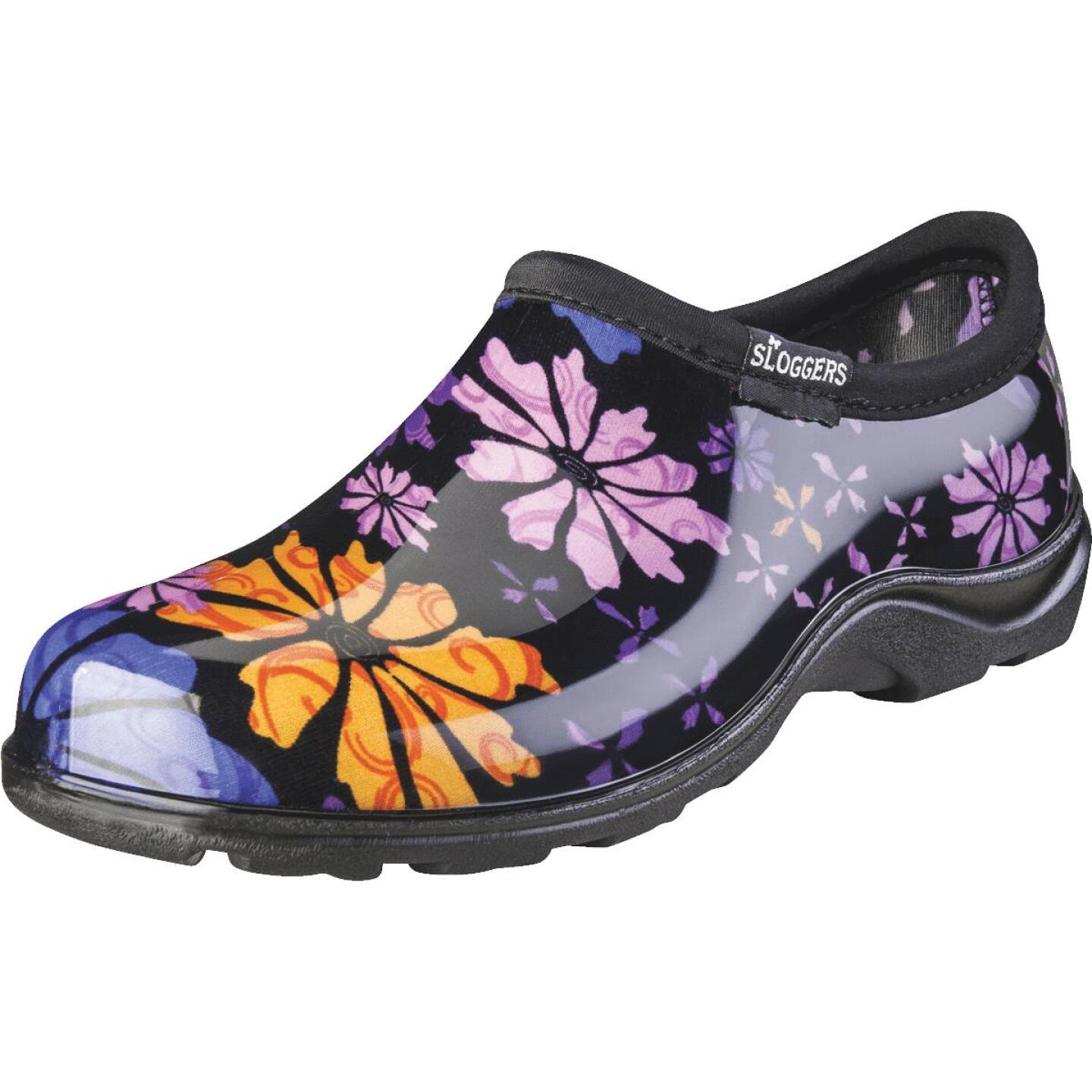 Sloggers Women's Size 9 Black w/Flower Design Garden Shoe Image 1