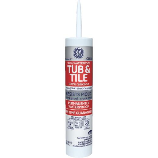GE Silicone 1 10.1 Oz. Clear Tub & Tile Kitchen & Bath 100% Silicone Sealant