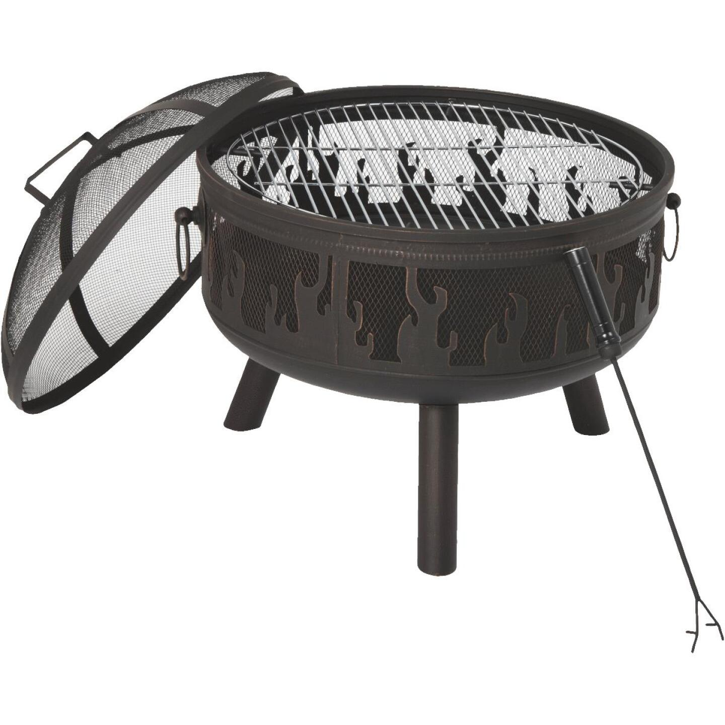 Outdoor Expressions 24 In. Antique Bronze Round Steel Fire Pit Image 2