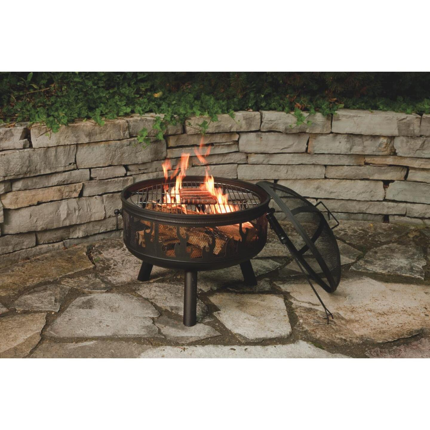 Outdoor Expressions 24 In. Antique Bronze Round Steel Fire Pit Image 4