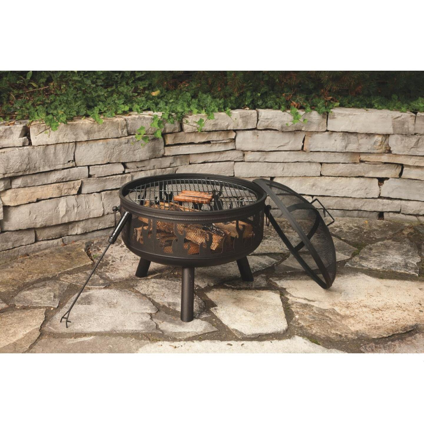 Outdoor Expressions 24 In. Antique Bronze Round Steel Fire Pit Image 5