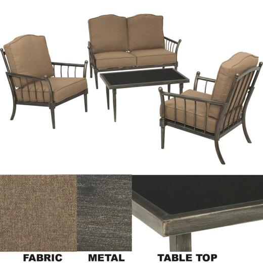 Castle Bluff 4-Piece Steel Chat Set with Cushions