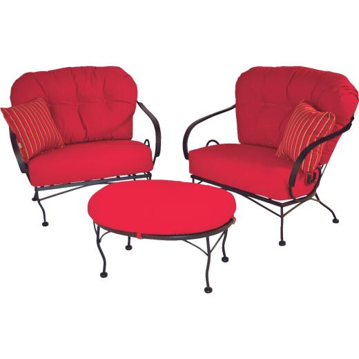 Brantley 3-Piece Steel Chat Set with Red Cushions