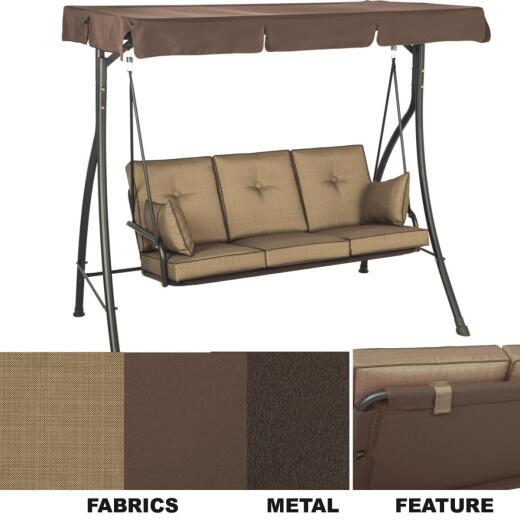 Outdoor Expressions 3-Person 77 In. W. x 69 In. H. x 53 In. D. Brown Patio Swing