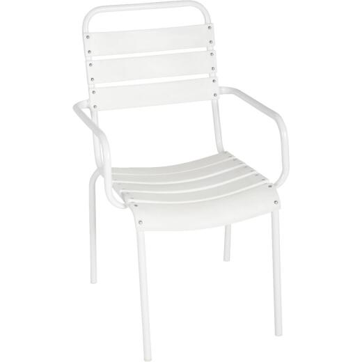 Outdoor Expressions White Steel Stackable Chair